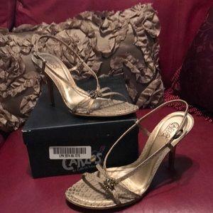 Carlos Crock Embossed Gold Strappy Heels